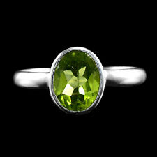 NATURAL 9X7 MM OVAL FACET CUT APPLE GREEN PERIDOT GEMS STERLING 925 SILVER RING