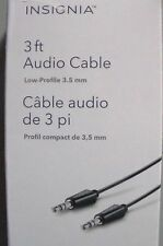 Insignia 3ft Audio Cable Low-Profile 3.5mm - White or Black - NS-LW16-C