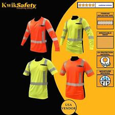 ANSI Class 3 High Vis Reflective Safety Shirt Job Site Orange/Yellow All Sizes