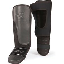 TITLE BOXING BLACK GRAPPLING SHIN INSTEP GUARDS Leather Large NEW