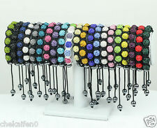 Fashion 9ball 10mm Clay Disco beads Crystal Shamballa mixcolor Bracelet Bangle