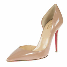 Christian Louboutin Iriza Nude Patent Leather 100 Pumps