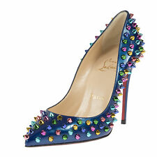 Christian Louboutin Follie Spike Blue Patent Leather 100 Pumps | Multi-colored