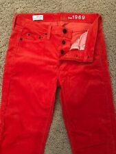 GAP 1969 SEXY BOYFRIEND RED ORANGE CHEER CORDS JEANS 24/00 REG FALL 12 S/243837