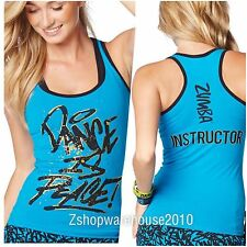 ZUMBA INSTRUCTOR Racerback~Metallics Blue Tanktop Convention ~DANCE IS PEACE! L