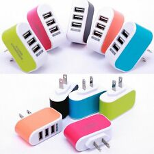 Travel Phone Charger AC LED Power 3-Port USB Charger Adapter Light