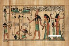 "Egyptian Papyrus Painting - The Judgment 8X12"" + Hand Painted + Description #78"