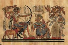"""Egyptian Papyrus Painting King Tut Hunting 7X9"""" + Hand Painted + Description #32"""