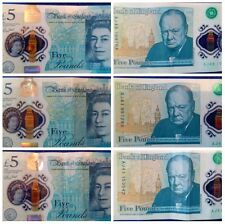 2016 Five 5 Pound Notes Plastic Polymer 2 3x SEQUENTIAL Consecutive Various 8888