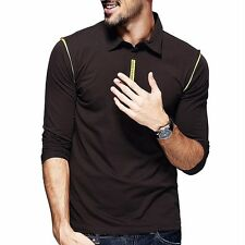 M~2XL Men Polo Shirt Long Sleeve Lapel Sports Casual T-shirt Coffee Color Basic