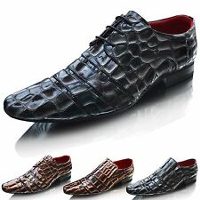 New Mens Crocodile Pattern Leather Lined Wedding Dress Formal Shoes Size UK 6-12