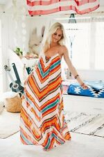 Womens New Beautiful Trendy Sexy Stylish Multicolor Zigzag Long Chiffon Dress