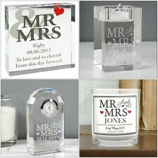 Personalised Mr & Mrs Weddings Gifts, Anniversaries, Valentine's Day, Newly Weds