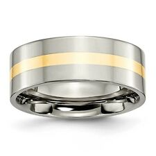 Titanium 14k Gold Inlay Flat 8mm Polished Band Ring - Ring Size: 6 to 13