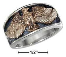 Sterling Silver Mens Bronze Eagle With Spread Wings Band Ring - 8.2 Grams - Size