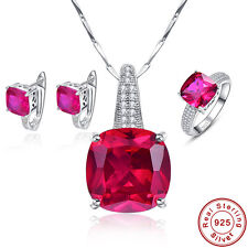 Free Jewelry Box Ruby Ring+Earrings+Pendant S925 Sterling Silver Jewelry Sets