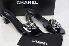 $825 New Chanel Patent Black Crystal Embellished CC Logo Sandals Shoes 37.5