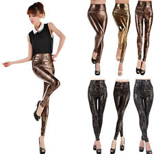 Lady Faux Leather Snakeskin Leopard Stretch Skinny High Waist Pants Leggings New
