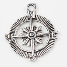 5/10Pcs Tibet Silver Compass Pendants Charms Crafts DIY Jewelry Accessories