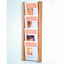 Stance 4 Pocket Wall Display Wood Literature Display Magazine Rack Catalog Rack