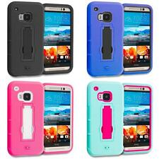 For HTC ONE M9 Hybrid Rugged Armor Hard Soft Skin Case Cover KickStand Accessory