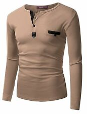 Doublju Mens Long Sleeve Leather Point Henley T-shirts