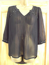ex NEXT- size 10  - lovely BLACK stud detail LADIES Tunic/ Blouse - BNWoT