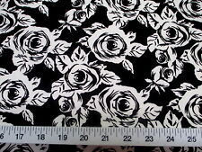 Discount Fabric Printed Lycra Spandex Stretch Black White Small Rose Floral D300