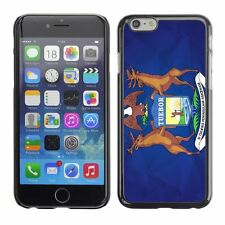 Hard Phone Case Cover Skin For Apple iPhone Michigan Flag US State Paper effect