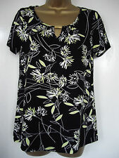 NEW - george - size 10 - 14 - classic BLACK floral print ladies TOP/ TUNIC BNWoT