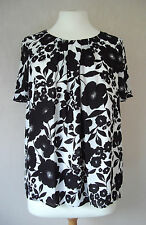 NEW - M&Co - size 10 - 18 - Black/ White floral print ladies TOP/TUNIC - BNWoT