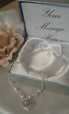Personalised Box Maid of Honour Pearl Bracelet Wedding Jewellery Present