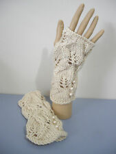 Handknitted Vintage Lovely Lace Fingerless Gloves8Ply Acrylic One Size Fits All
