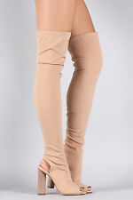 Thigh High Over Knee Open Peep Toe Block Heel Pull On Stretchy Boot - Nude Beige