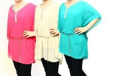 Ladies lined batwing top with diamante detail and belt
