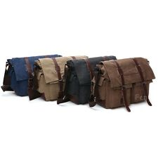 Men Vintage Style Canvas Genuine Leather Satchel School Shoulder Messenger Bag