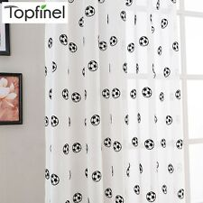Top Finel New Embroidered Football Sheer Curtains for Living Room Bedroom Tulle