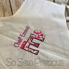 Personalised Embroidered Child's Apron, Chef Design Applique, Any Name, Unisex