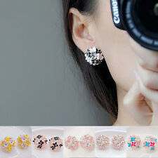 Hot Sale Women Lady 1 pair Rhinestone Ear Stud Earrings Elegant Flower Pearl