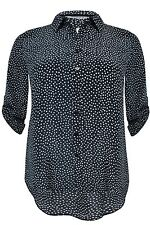 New Simply Be Black White Polka Dot Roll Sleeve Silky Plus Size Blouse Shirt