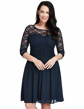 LookbookStore Womens Plus Size Lace Top Chiffon Skirt A-line Skater Formal Dress