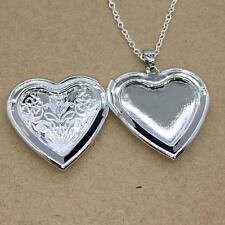 Vintage Fashion Locket Pendant Love Heart Silver Plated Photo Charm