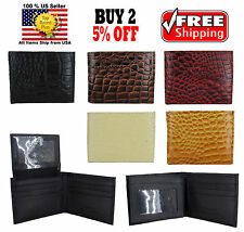 MEN CROCODILE ALLIGATOR SKIN GENUINE LEATHER BI FOLD BI-FOLD WALLET CARD HOLDER