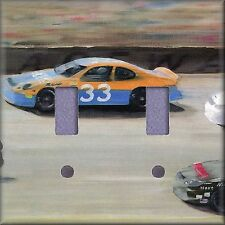 Race Cars On The Track Art Light Switch Plate Cover Wall Decor