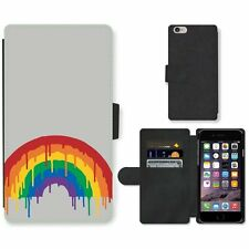 Phone Card Slot PU Leather Wallet Case For Apple iPhone Painting of rainbow swam