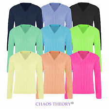 Womens Knitted V Neck Long Sleeve Cable Sweater Ladies Knit Top Plain Jumper