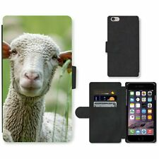 Phone Card Slot PU Leather Wallet Case For Apple iPhone Sheep with big ears