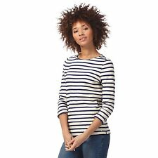 Maine New England Womens Cream And Navy Scalloped Striped Top From Debenhams
