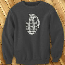 VINTAGE GRENADE ARMY MILITARY SPECIAL FORCES BOMB Mens Charcoal Sweatshirt