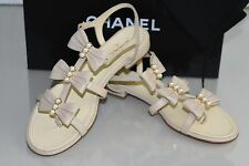 $1100 New 16 S Chanel Triple BOW PEARLS Beige CC Flats Flat Sandals Shoes 39.5